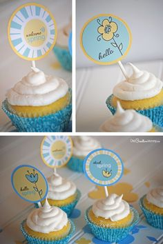 Fancy up your favorite cupcakes with these adorable Spring printable cupcake toppers! {Fun gift idea for neighbors, teachers, and friends.} Free printable!