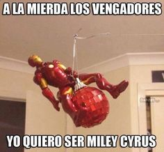 Translation: Fuck the avengers.. I want to be Miley Cyrus #lol #funny #wrecking #ball