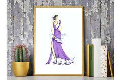 Primavera Viola - Print , fashion illustration,fashion illustrator by @MissStyleCreazioni ♥ ♥ ♥ ♥ ♥ ♥ www.etsy.com/shop/MissStyleCreazioni ♥ ♥ ♥ ♥ ♥ ♥