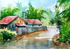Water colour on paper ryasarts Kids Watercolor, Watercolor Art Lessons, Watercolor Landscape Paintings, Pencil Colour Painting, Pencil Art, Easy Paintings, Beautiful Paintings, Village Drawing, Art Painting Gallery