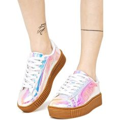 Pink Holographic Creeper Sneakers (210 HRK) ❤ liked on Polyvore featuring shoes, sneakers, galaxy shoes, creeper sneakers, lace up shoes, pink trainers and snake print sneakers