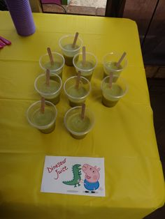 Peppa Pig Party - Food Ideas: Dinosaur Juice - Honeydew, pineapple, rock melon, ice and water - very yummy!