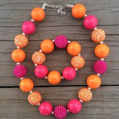 Hot Pink-Bright Orange Sparkle Chunky Bubblegum Necklace Set