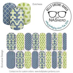 Dutchess inspired~ Get the Look without the polish! Contact me @ Kelly Loves Jam on Facebook or email me bluegodiva@yahoo.com if interested in designing/ordering a custom nail art studio sheet of your own . Curious about Jamberry's 350+ ready-to-go catalog wrap designs, lacquer or gel enamels? Head to kellybaker.jamberry.com ~ DIY nail art, colonial blue, green, chartreuse, petals, filigree, quatrefoil