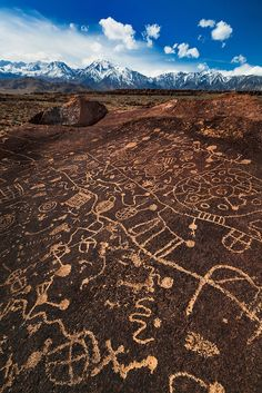 Sky Rock Petroglyph And The Sierras, Eastern Sierras & North Owens Valley, California