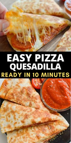 Sometimes you need a quick and easy way to get your pizza fix! These Easy Pizza Quesadillas can be prepared with one pan in about five minutes!   This is the perfect lunch, or quick dinner to be served with warm marinara and a side salad! No matter when you serve it these quesadillas are a simple, family friendly meal even your pickiest eater will love! Fun Pizza Recipes, Dinner Recipes Easy Quick, Cheesy Recipes, Entree Recipes, Quick Easy Meals, Lunch Recipes, Appetizer Recipes, Wrap Recipes, Pizza Quesadilla