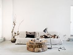 wooden table from real wood slices :) Sara Svenningrud - Harvest Agency