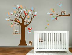 Kids tree and branch set vinyl wall decal with birds owls squirrel pattern leaves and a swing