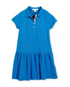 Cali Smocked Raglan Polo Dress, Blue, Size 4-14