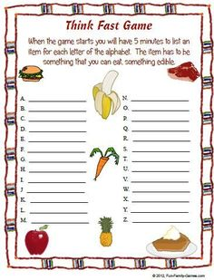 fill in the blanks game is a great ice breaker game to get everyone involved and participating.The fill in the blanks game is a great ice breaker game to get everyone involved and participating. School Age Activities, Senior Activities, Team Building Activities, Activities For Kids, School Age Games, Icebreaker Games For Kids, Group Activities, School Age Crafts, Abc Games