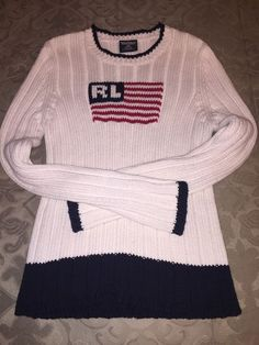 27caab342f5 Ralph Lauren Polo Sweater Size Large American Flag RL Red White Blue  Patriotic