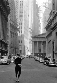 The streets of NYC make a great backdrop for Audrey Hepburn as Sabrina Fairchild in her black catsuit. Eat your heart out Humphrey Bogart.
