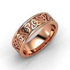 Men's 14K Rose Gold Ring   King Triqueta Band (7.6 mm)   Gemvara
