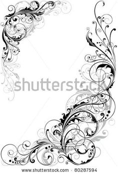 Swirl floral design by Milen , via Shutterstock Design Floral, Motif Floral, Filigree Tattoo, Scroll Pattern, Feather Tattoos, Swirls, Vector Art, Design Elements, Coloring Pages