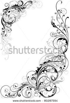 Swirl floral design by Milen , via Shutterstock Design Floral, Motif Floral, Motif Baroque, Filigree Tattoo, Scroll Pattern, Feather Tattoos, Swirl Design, Art Tutorials, Swirls