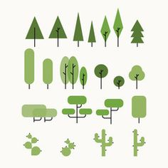 Vector flat tree set. Minimalist retro desing.