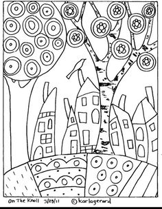17 Ideas For Embroidery Patterns Tree Folk Art Rug Hooking Doodle Coloring, Colouring Pages, Adult Coloring Pages, Coloring Books, Pattern Coloring Pages, House Quilts, Rug Hooking, Pattern Paper, Doodle Art