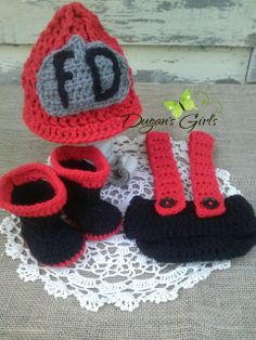 Crochet by Dugan's Girls {Newborn fireman hat with diaper cover and boots} #DugansGirls #BuyHandMade