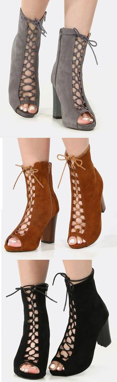 """Put a surprising spin on your everyday casual ensemble with the Peep Toe Lace Up Chunky Heel Booties! This chic ankle boot features an open toe, faux suede upper, and lace up design. Finished with a 4"""" chunky heel w/ .5"""" platform approx. Finish the look with a loose tee and ripped skinny jeans!"""
