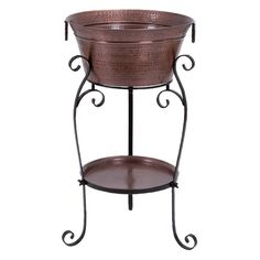 """Wine Country sheet metal wine cooler and stand with tray, tarnished copper-finish round aluminum hand-dimpled style short bucket with ring handles, three-footed black sheet metal band stand with affixed lower round copper-finish dimpled tray"""" Cooler Stand, Wine Chillers, Wine Bucket, Wine Display, In Vino Veritas, High Quality Furniture, Tray, Home Decor, Sheet Metal"""