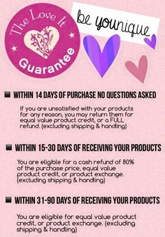 We have a Love It Guarantee- but I KNOW you'll love it!!   www.eyelashyou.com