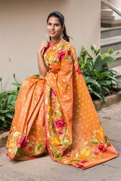 Rust orange super net kota with zari butti and rich floral threadwork #saree #houseofblouse