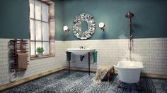 This bathroom plays wonderuflly with the styles of eclectic and minimal, somehow magically achieving both. The freestanding bath/tower is especially awesome. By SIMPLE actitud