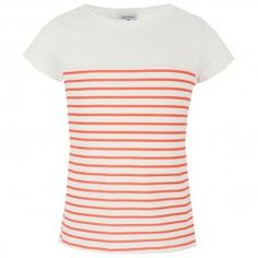 White and coral striped tee
