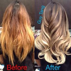 """""""My sexy client @arikasato came in with ratchet brassy orange ombré until I gave her my signature  sensational high contrast cool blonde ombré #guytang…"""""""