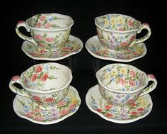 Set of 4 Tabletops Unlimited English Garden Jumbo Oversized Cups Saucers | eBay