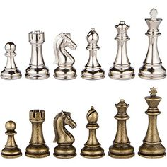 Janus Silver and Bronze Extra Heavy Metal Chess Pieces with Extra Queens - Pieces Only - No Board - 4.5 Inch King >>> Continue to the product at the image link.