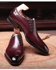 more photos 8dfa6 9f794  Maroon  Plain Pointed Toe  Oxford  Party Wear  Genuine  Leather   Laceup Shoes  Leadstyle  Handmade