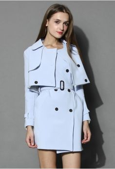 Creamy Blue Double-breasted Twinset Trench Coat