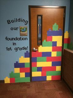 "What a cute idea! LEGO theme classroom door display ""Building Our Foundation in Grade 1!"""