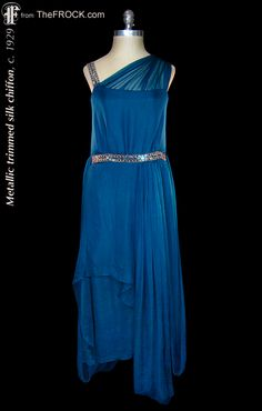"""Vintage 1920s blue silk chiffon flapper dress with metallic trims; art-deco """"Great Gatsby"""" era gown. Bead detail or a vintage 1930s red silk chiffon evening gown; post flapper era couture dress. (While the garment is available, details and more photos are found on our website at www.thefrock.com )"""
