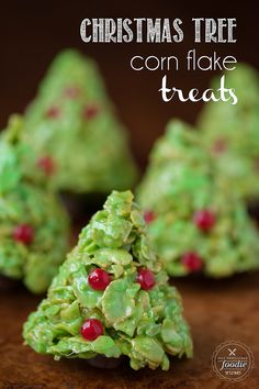 If you like Rice Krispie Treats, you'll love these holiday inspired Christmas Tree Corn Flake Treats, complete with decorations and a tootsie roll stump.