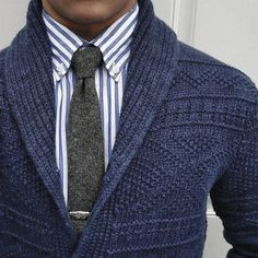 Winter Outfits For Men - Cold Weather Male Styles Mens Clothing Winter Outfits Styles Blue Sweater With Grey TieMens Clothing Winter Outfits Styles Blue Sweater With Grey Tie Sharp Dressed Man, Well Dressed, Style Outfits, Casual Outfits, Outfit Styles, Smart Casual, Men Casual, Casual Office, Estilo Cool