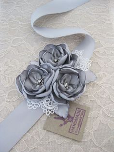 Silver Gray Flower Dress Sash Belt. Rustic Flower Sash. Silver Dress Sash. Special Occasion Accessory. Wedding Bridal Sash.. $45.95, via Etsy.