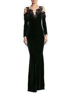 Marchesa Notte - Beaded Velvet Floor-Length Gown