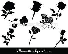 Rose Flower Silhouette Vector Pack