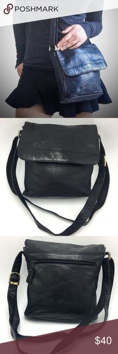 Jane Shilton Black Leather Flapover Satchel Bag Black Leather Satchel Purse by Jane Shilton (English designer). Great quality leather. Bought in Canada.  There are some signs of wear on the bottom edges, and what seems like a bend in the back (that faded line in the bag photo--not easy to notice). Otherwise strong, soft, quality leather purse.  :) Jane Shilton Bags Satchels