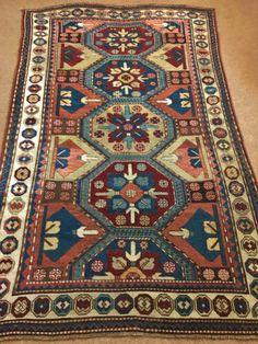 Antique Rare Caucasian Kazak rug, c. Antique Rare, Morrocan Rug, Palestinian Embroidery, Rustic Rugs, Textiles, Cheap Carpet Runners, Persian Carpet, Rugs On Carpet, Stair Carpet