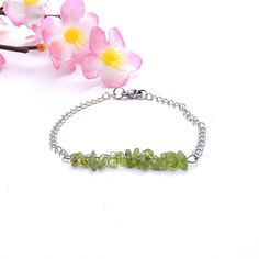 Silver chain bracelet peridot jewelry yoga by DSNatureetCreation https://www.etsy.com/listing/498855280/silver-chain-bracelet-peridot-jewelry