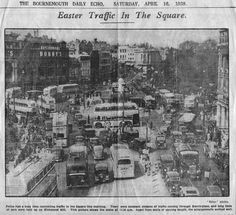 Easter Traffic In The Square Bournemouth, Vintage Travel Posters, Coaches, Buses, Old Houses, Birth, Easter, History, Life