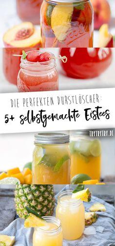 5+ selbstgemachte Eistee-Rezepte. Perfekt für den Sommer als Durstlöscher! #eistee #rezept #selbstgemacht #getränk