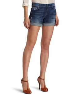 7 For All Mankind Women's Relaxed Mid Roll Up Short in Grinded Medium Blue, Grinded Medium Blue, 24 7 For All Mankind. $133.00. Zip fly. Machine Wash. Natural rise. 9.5 ounce stretch denim. 98% Cotton/2% Spandex. Save 21% Off!