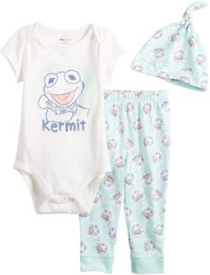 Disneyjumping Beans Disney's The Muppets Kermit Baby Boy Graphic Bodysuit, Print Pants & Hat Set by Jumping Beans