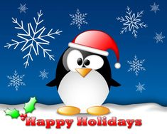 Happy holidays on Christmas, Happy Christmas with penguin Happy Holidays Pictures, Holiday Pictures, Linux, Merry Christmas Wallpaper, Holiday Wallpaper, Christmas Desktop, Holiday Greeting Cards, Holiday Postcards, Creative Arts Therapy