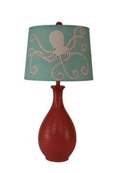 An adorable Aqua and Coral Red Octopus Table lamp to welcome friends to your beach home! Standing at tall and completed with an aqua fabric lamp shade highlighted by a whimsical off-white and c Octopus Lamp, Red Octopus, Rustic Table Lamps, Table Lamps For Sale, Coral Lamp, Ocean Room, Hamptons Decor, Bedroom Turquoise, Aqua Fabric