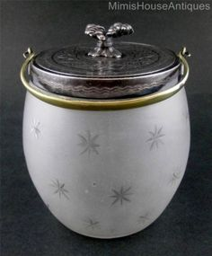 BISCUIT-JAR-dated-1876-Presentation-piece-STAR-Studded-FROSTED-art-glass
